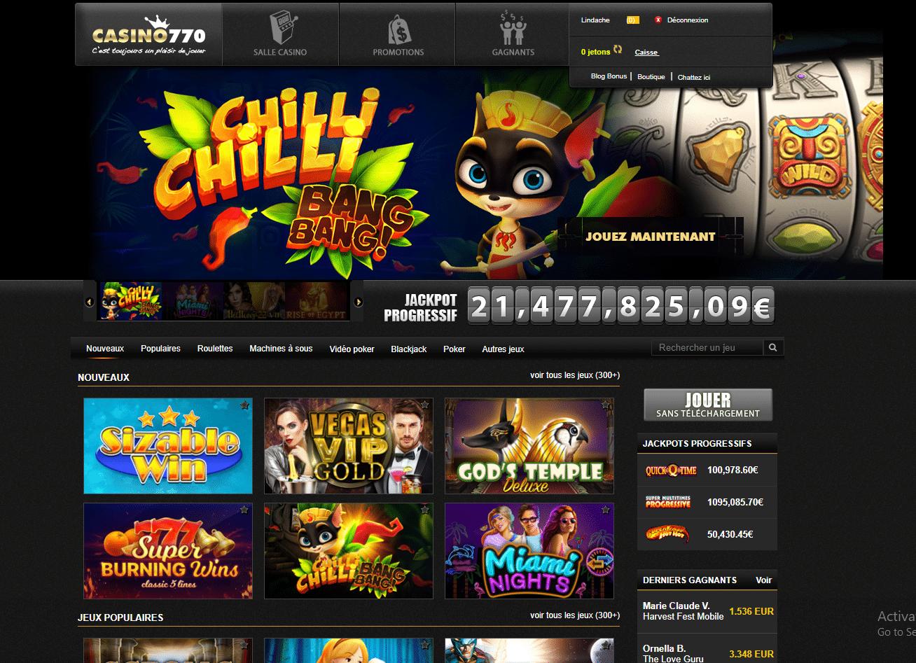 Découvrez notre avis sur Casino770, un casino en ligne fiable et sécurisé